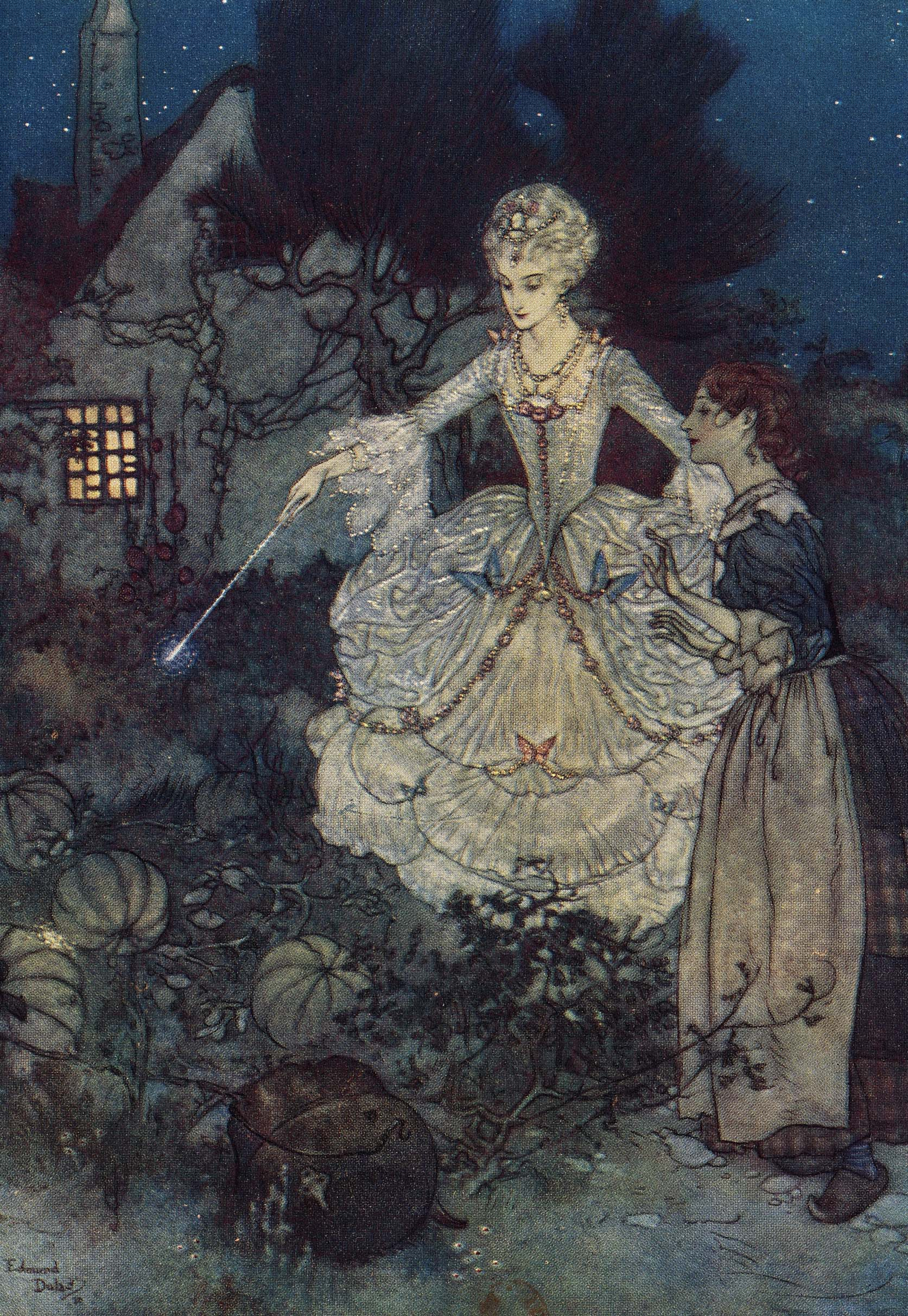 Cinderella and her fairy-godmother in the vegetable garden, Edmond Dulac (1915)