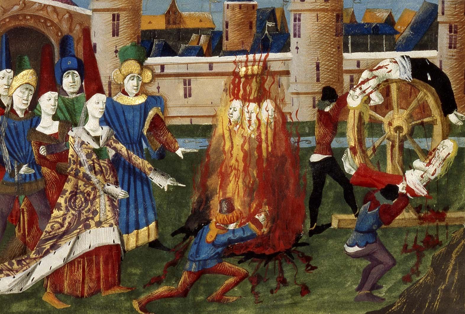Frédégonde faisant tuer les sorcières, Grandes Chroniques de France (1450-1475)
