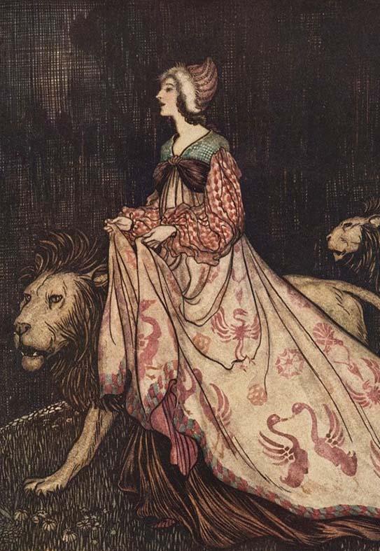 La dame et le lion, Arthur Rackham (1909)
