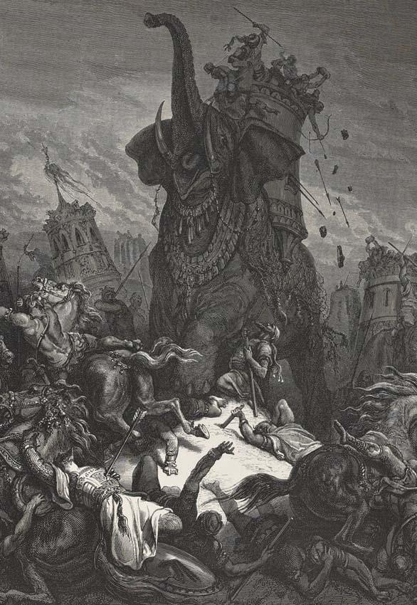 Mort d'Eleazar machabee, La Sainte Bible, par Gustave Doré (1866)