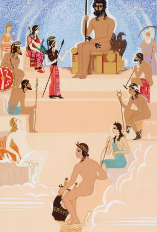 Assembly of the Gods, <i>The Odyssey</i>, written by Homer and illustrated by F.L. Schmied (1930-1933)