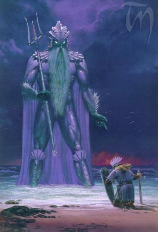Ulmo appears before Tuor, <i>The Silmarillion</i>, written by J.R.R. Tolkien and illustrated by Ted Nasmith (1998)
