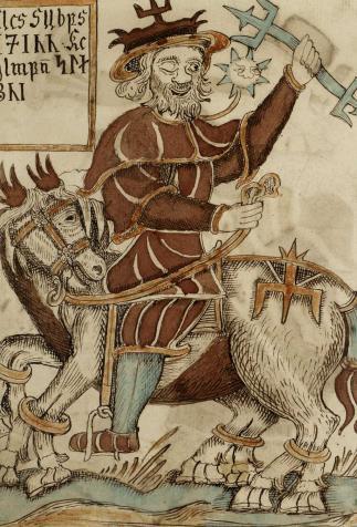 Odin riding Sleipnir, <i>Sæmundar og Snorra Edda</i>, written and illustrated by par Ólafur Brynjúlfsson (1760)