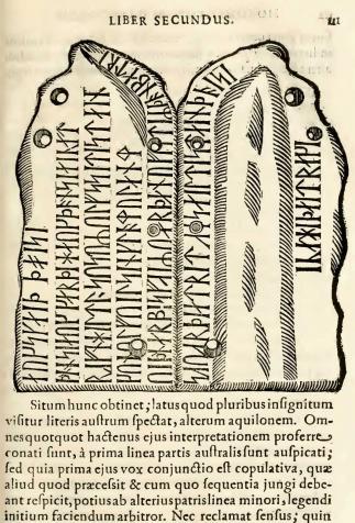 Pierre runique, <i>Regum Daniae series duplex et limitum inter Daniam et Sueciam descriptio</i>, Ole Worm (1642)
