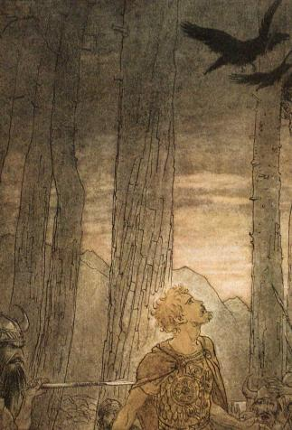 Hagen stabs Siegfried as he turns to see the crows, <i>The Ring of the Nibelung</i> by Richard Wagner, illustrated by Arthur Rackham (1910)