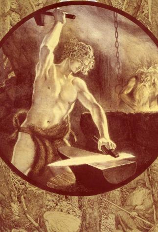 Siegfried forgeant son épée, <i> L'Anneau du Niebelungen</i> de Richard Wagner, illustré par Franz Stassen (XX<sup>e</sup> siècle)