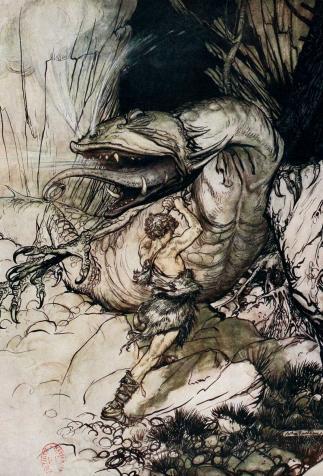 Siegfried enfonce son épée dans la gorge de Fafnir, <i>Siegfried et le Crépuscule des dieux</i> de Richard Wagner, illustré par Arthur Rackham (1911)
