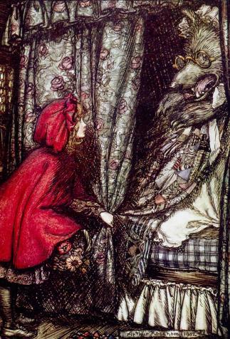 Le petit chaperon rouge, <i>Le Printemps sur la neige et d'autres contes du bon vieux temps</i>, de Charles Guyot, illustré par Arthur Rackham (1922)