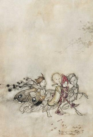 Peaseblossom, Cobweb, Moth and Mustardseed , <i>Midsummer Night's Dream</i> by William Shakespeare illustrated by Arthur Rackham (1909)
