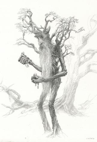 Treebeard, set design by Alan Lee for <i>The Lord of the Rings</i> by Peter Jackson