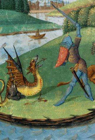 Perceval fighting the dragon, <i>Compilation arthurienne by Micheau Gonnot</i>, illuminated by Evrard d'Espinques (1470)