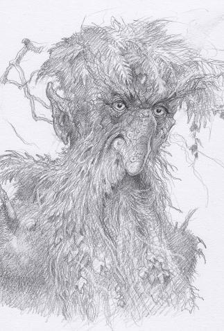 Barbebois, Ent gardien de la forêt de Fangorn, maquette de décor dessinée par John Howe, d'après <i>Le Seigneur des Anneaux</i> de J.R.R. Tolkien