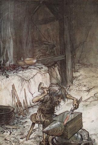 Le nain Mime forge l'épée Notung, <i>L'Anneau du Niebelungen</i>, de Richard Wagner, illustré par Arthur Rackham (1910)