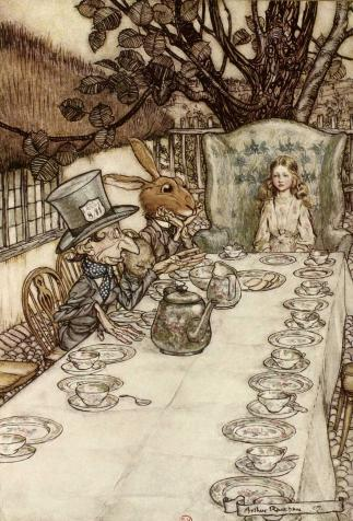 Five o'clock tea, <i>Alice's Adventures in Wonderland</i>, by Lewis Carroll, illustrated by Arthur Rackham (1908)