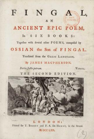 <i>Fingal, an ancient epic poem</i>, écrit par Ossian (1762)