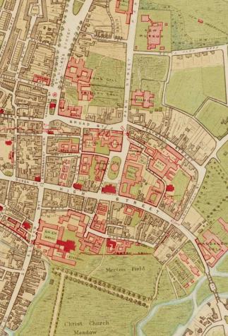 Plan du centre ville d'Oxford : Saint Giles's street (Eagle and Child) et collèges alentours
