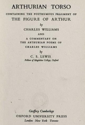 <i>Arthurian Torso</i>, de Charles Williams et C.S. Lewis (1952)