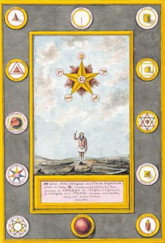 """""""Maçons levez les yeux vers l'étoile mystérieuse"""", <i>La Géométrie du Maçon</i> de François-Nicolas Noël (1812)"""