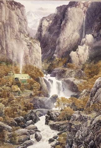 La vallée de Fendeval, <i>Le Seigneur des anneaux : 1, La fraternité de l'anneau</i> de J.R.R. Tolkien, illustré par Alan Lee (2014)
