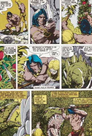 <i>Les Clous rouges (The Conquering Sword of Conan)</i>, <i>Conan, le Barbare, 1 (Conan the Barbarian)</i>, script by Roy Thomas after R.E. Howard's works, drawing by Barry Smith (1976)