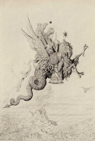 <i>La Péri</i>, dessin pour émail d'après Gustave Moreau (1865)