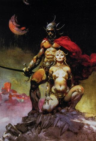 <i>Le conspirateur de Mars</i> de E.R. Burroughs, couverture illustrée par Frank Frazetta (1973)