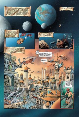 <i>Lanfeust des étoiles</i>, <i>Intégrale, 1 à 3</i>, scénario de Christophe Arleston, dessins de Didier Tarquin, couleurs de Claudes Guth (2001)