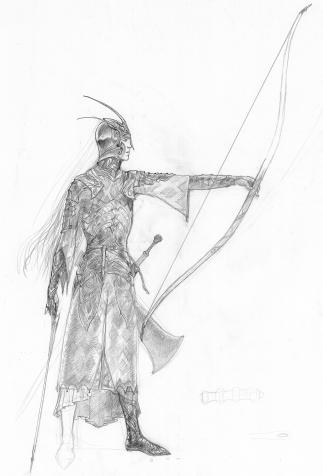 Elfin armor, set design by John Howe for <i>The Lord of the Rings</i> by Peter Jackson