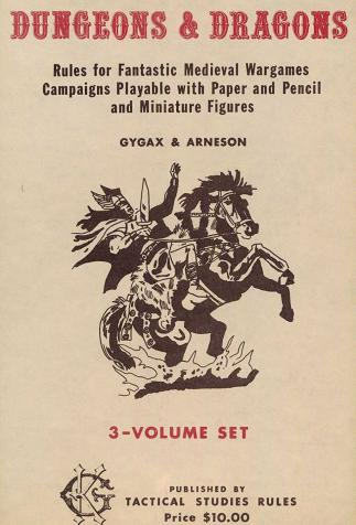 <i>Dungeons & dragons, Rules for Fantastic Medieval Wargames</i>, by Gary Gygax and Dave Arneson, edited by Tactical Studies Rules (1974)