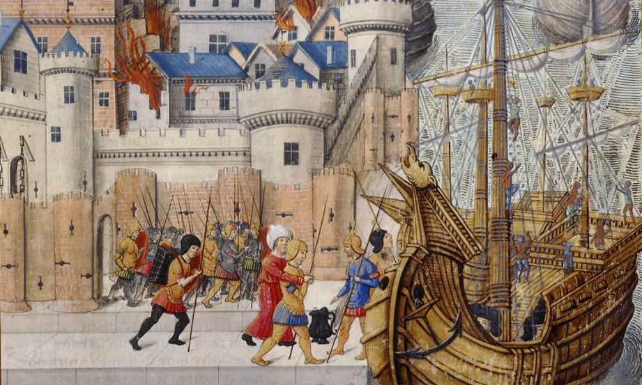 Aeneas leaving Troy in flames, <em>Aeneid</em>, written by Virgil and translated by Octovien de Saint-Gelais (1500)