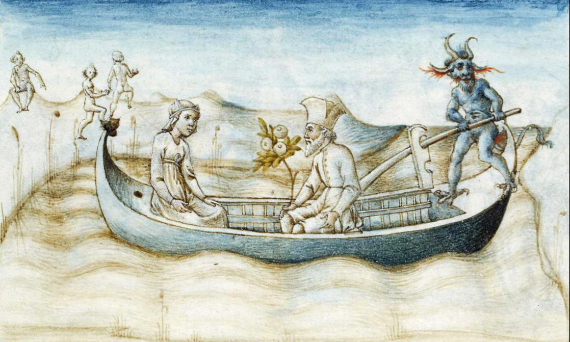 Aeneas crossing the river Styx, <em>Aeneid</em>, written by Virgil and illuminated by Guglielmo Giraldi (1458)