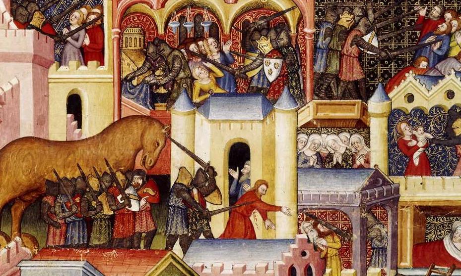The Taking of Troy, <i>Les Livres des histoires du commencement du monde</i>, illuminated by Maître d'Orose (14th century)
