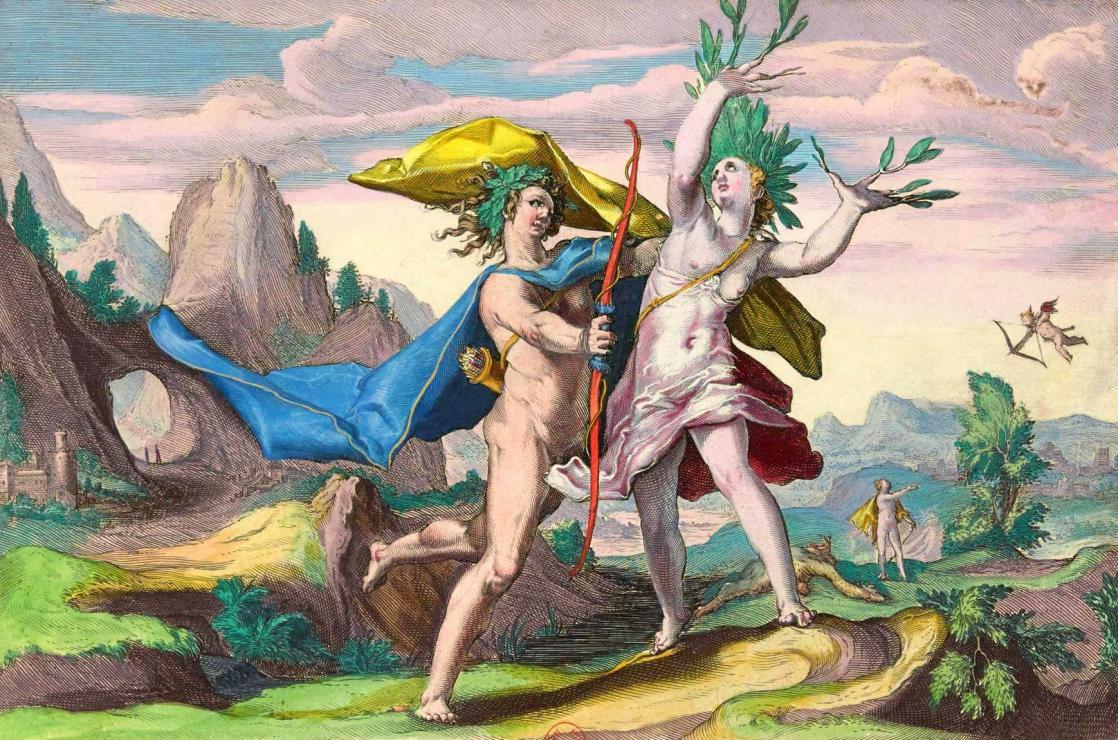 Daphnée métamorphosée en laurier, <i>Les Métamorphoses d'Ovide</i>, écrit par Ovide et gravé par Hendrick Goltzius (1589-1590)