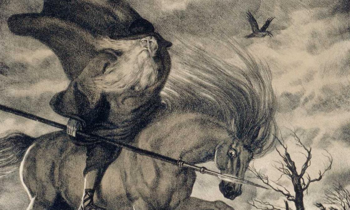 Odin overlapping Sleipnir, <i> The Ring of the Nibelung</i>, by Richard Wagner, illustrated by Franz Stassen (1914)