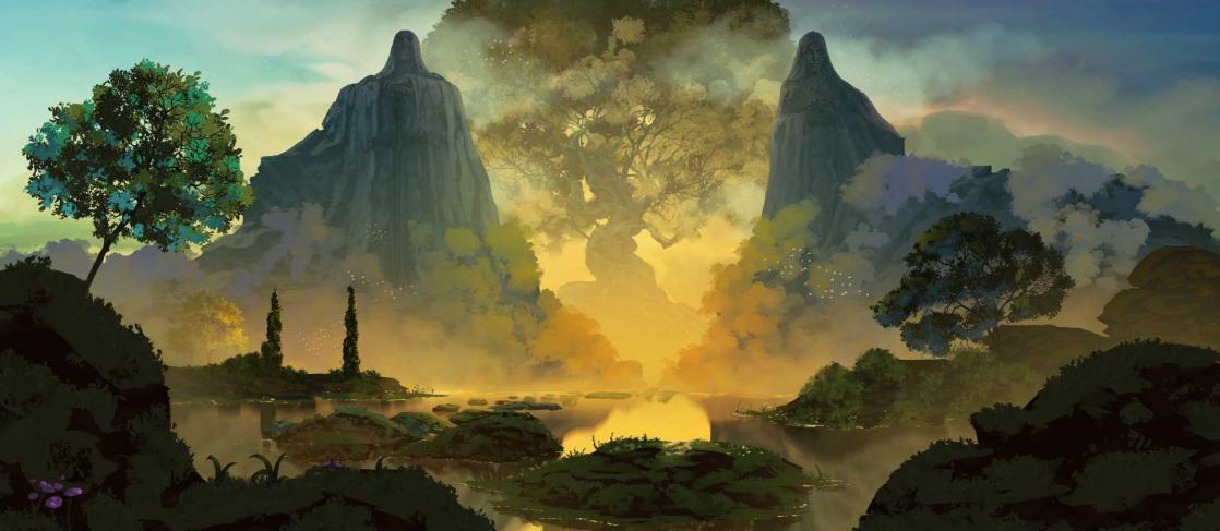 Entrée de la vallée des dieux, <i>Le Royaume d'Istyald</i>, visual novel développé par la BnF, illustré par Anato Finnstark (2020)