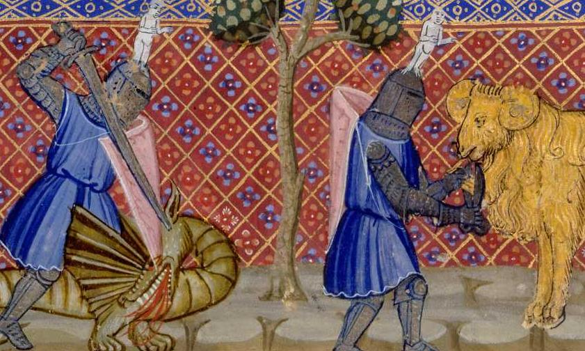 Jason and the dragon; Jason taking the golden fleece, <i>Roman de Troie (The Romance of Troy)</i>, written by Benoît de Sainte-Maure, illuminated by Turlon (1340-1350)