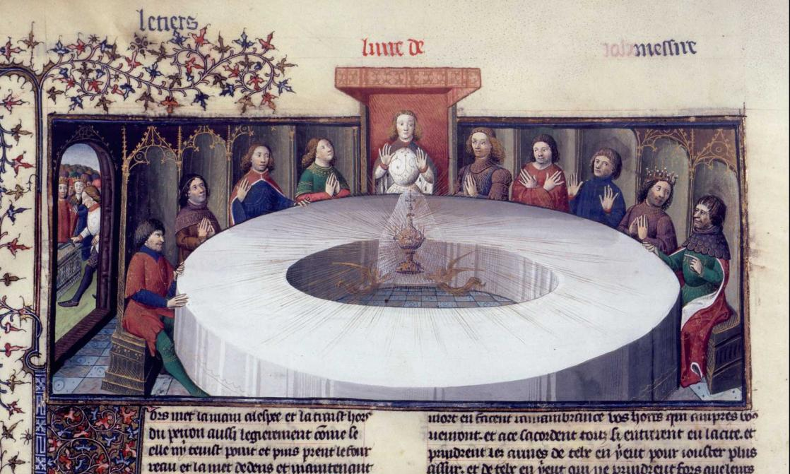Galahad pulling the sword from the stone (left), the Holy Grail appears, <i>Lancelot-Graal : la Quête du Saint Graal</i>, illuminated by Maître des Cleres Femmes de Jean de Berry (XIV<sup>e</sup> siècle)