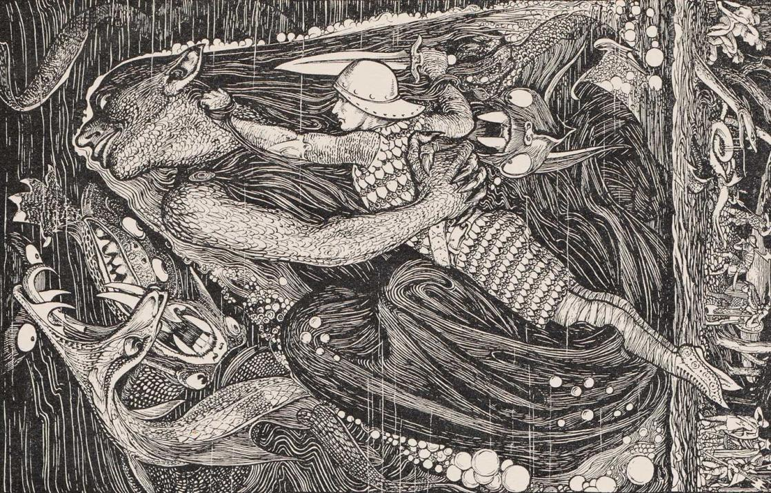 Grendel's mother drags Beowulf to the bottom of the lake, <i>The Red Book of Animal Stories</i> by Andrew Lang (1899)