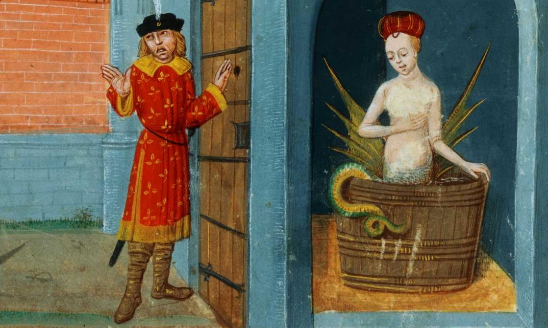 Raimondin découvrant le secret de Mélusine, <i>Roman de Mélusine</i>, écrit par Couldrette (XIV<sup>e</sup> siècle)