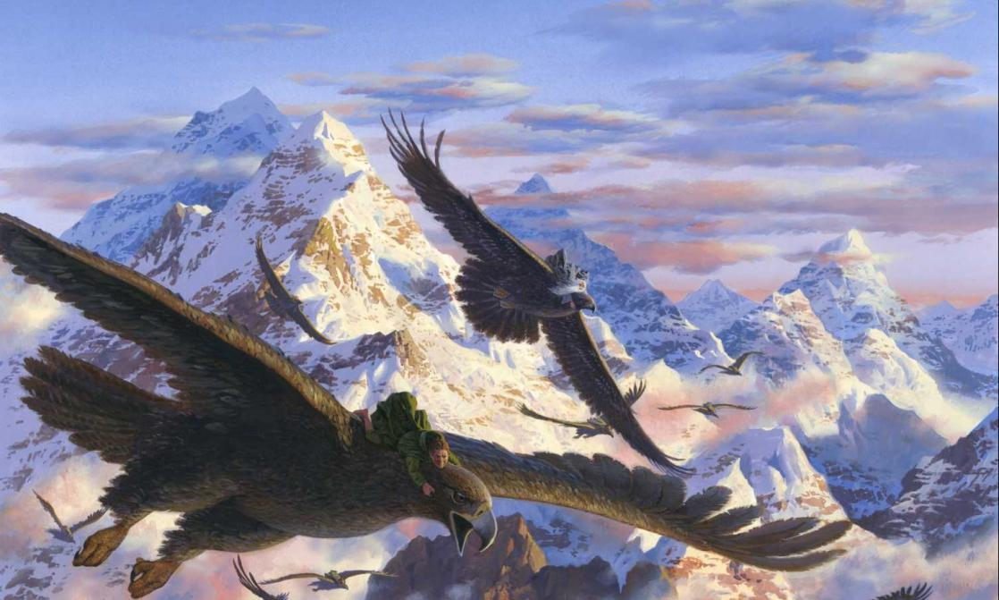 Bilbo and the eagles, illustration by Ted Nasmith after <i>The Hobbit</i> by J.R.R. Tolkien