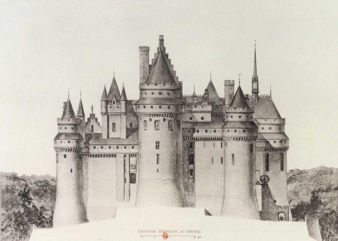 Château de Pierrefonds: exterior elevation, drawing by Eugène-Emmanuel Viollet le Duc (1926)