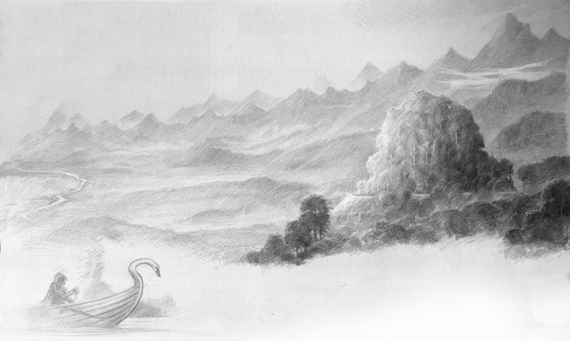 Caras Galadhon, demeure des Galadhrim, ou Elfes Sylvains, illustration de John Howe d'après <i>Le Seigneur des Anneaux</i> de J.R.R. Tolkien