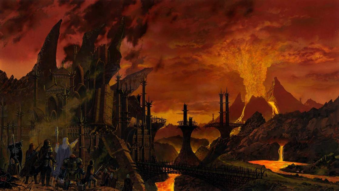 <i>Rangers Scout the Ruins of Barad-dûr</i>, illustration de Ted Nasmith, d'après <i>Le Seigneur des Anneaux : 3, Le Retour du Roi</i>, de J.R.R. Tolkien