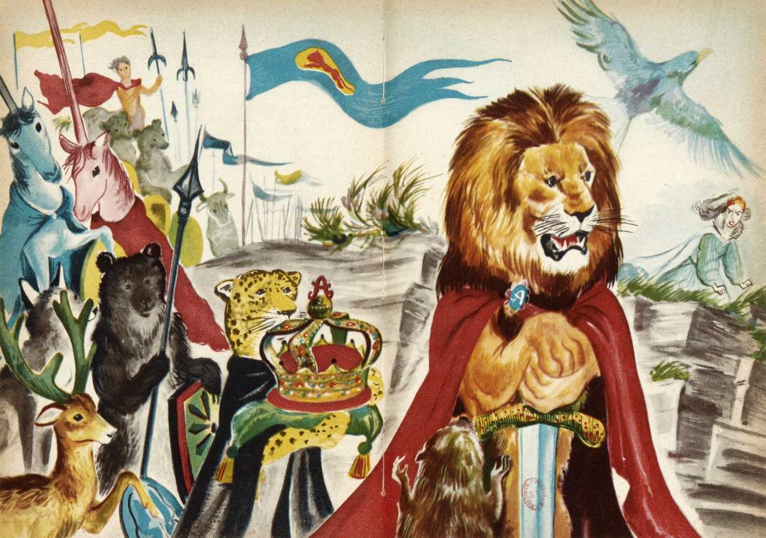 <i>The Lion and the White WItch</i> by C.S. Lewis, illustration by Romain Simon (1952)