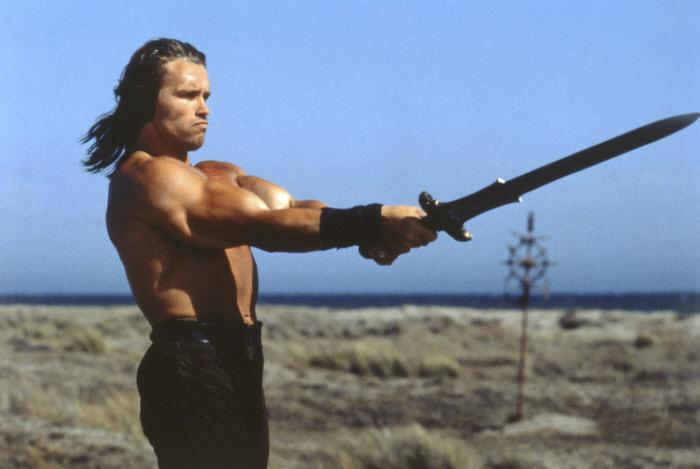 Arnold Schwarzenegger in <i>Conan the Barbarian</i>, directed by John Milius after the stories of R. E. Howard (1982)