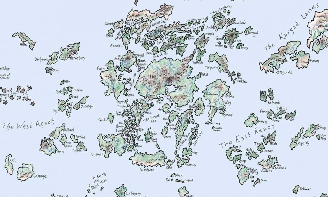 A map of Earthsea, created and designed by Ursula Le Guin