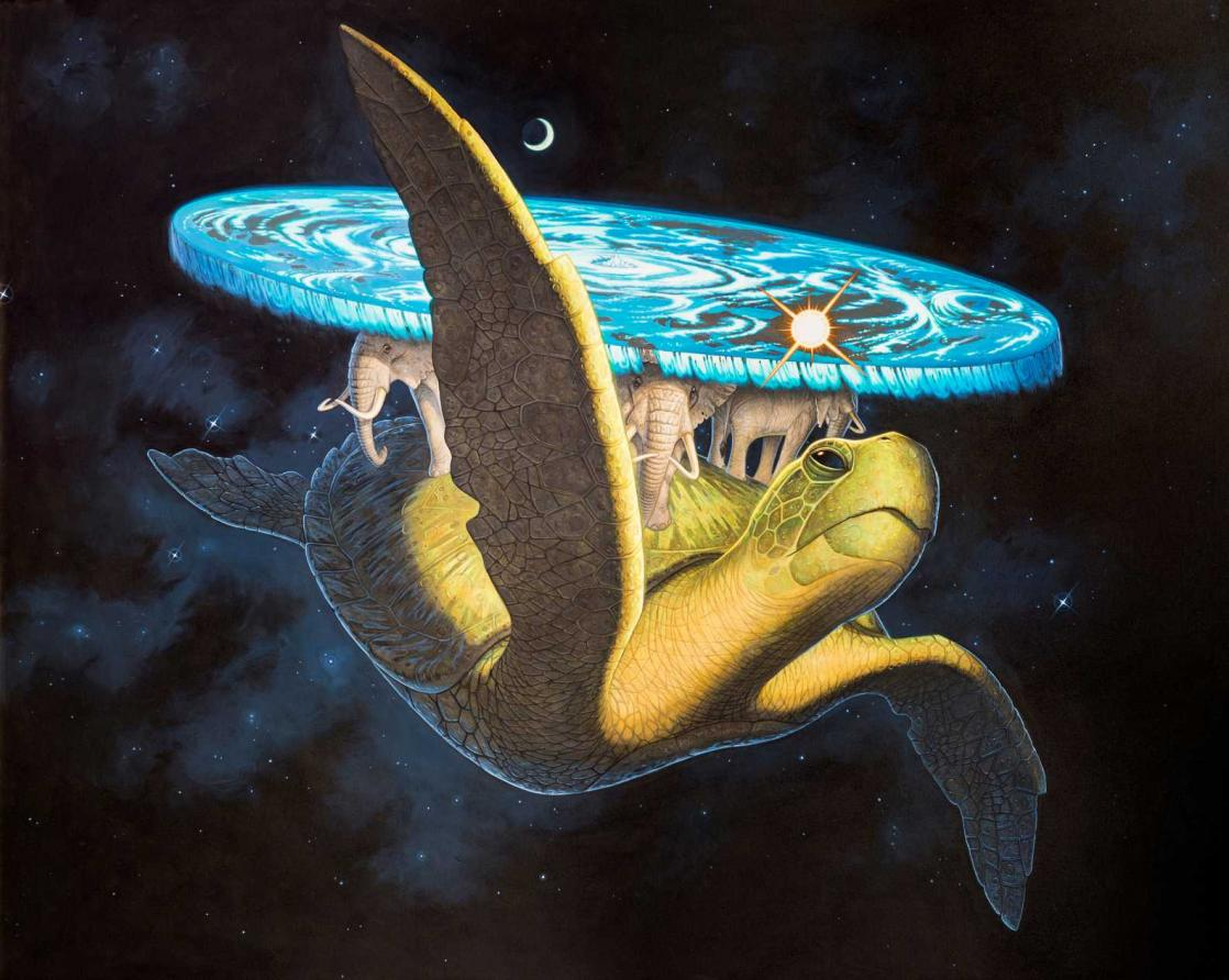 Great A'Tuin carrying the Discworld, illustration by Paul Kidby after <i>Discworld</i> by Terry Pratchett (2013)