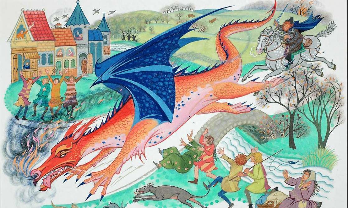 <i>Le dragon Chrysophylax</i>, <i>Le Fermier Gilles de Ham</i> de J.R.R. Tolkien, illustré par Pauline Baynes (1949)