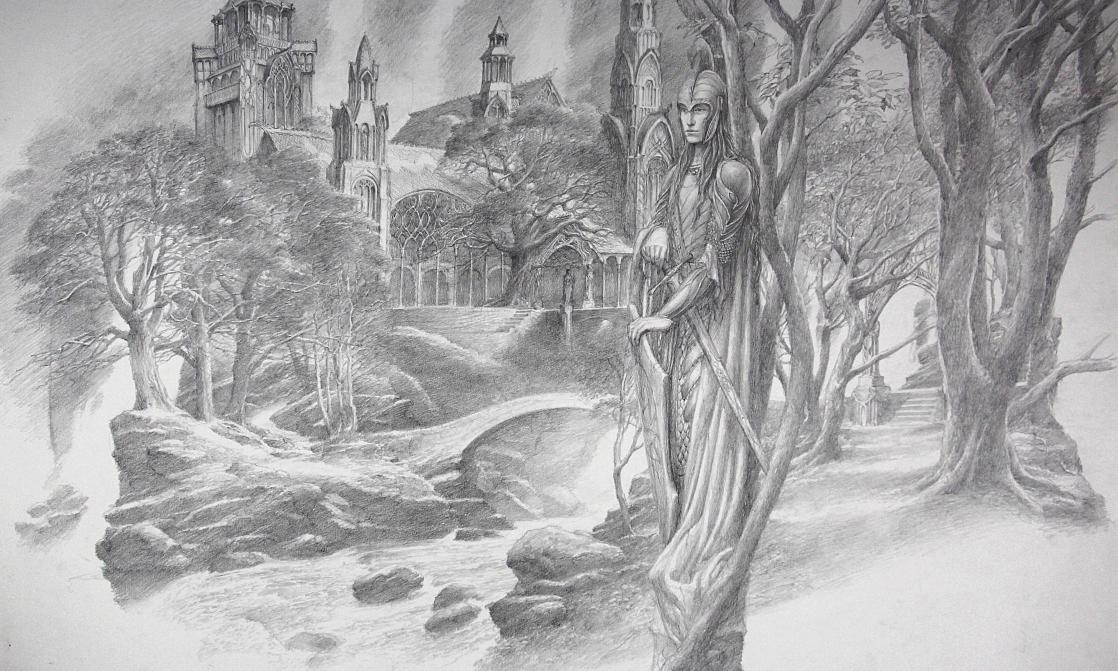 Majestic elf in front of Rivendell Palace, drawing by Alan Lee, after <i>The Lord of the Rings</i> by J.R.R. Tolkien (2019)