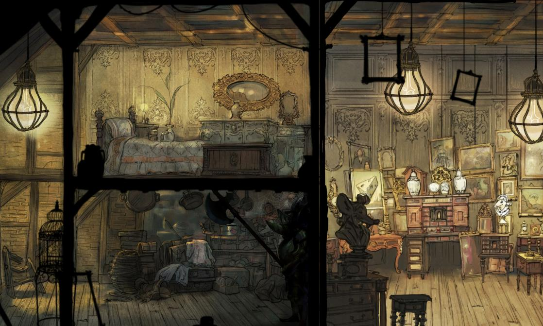 Une maison Bolmus, petit peuple de souris commerçantes, <i>Child of Light : Art Book </i>(2014)